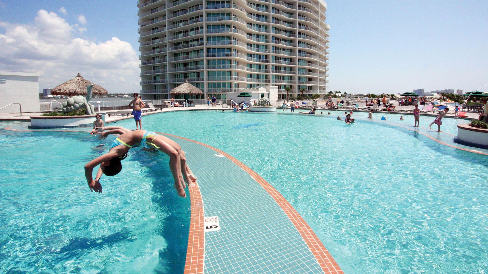 Upper Pool Deck Tiered Pools